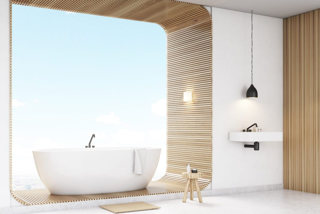 Bathtub in the window