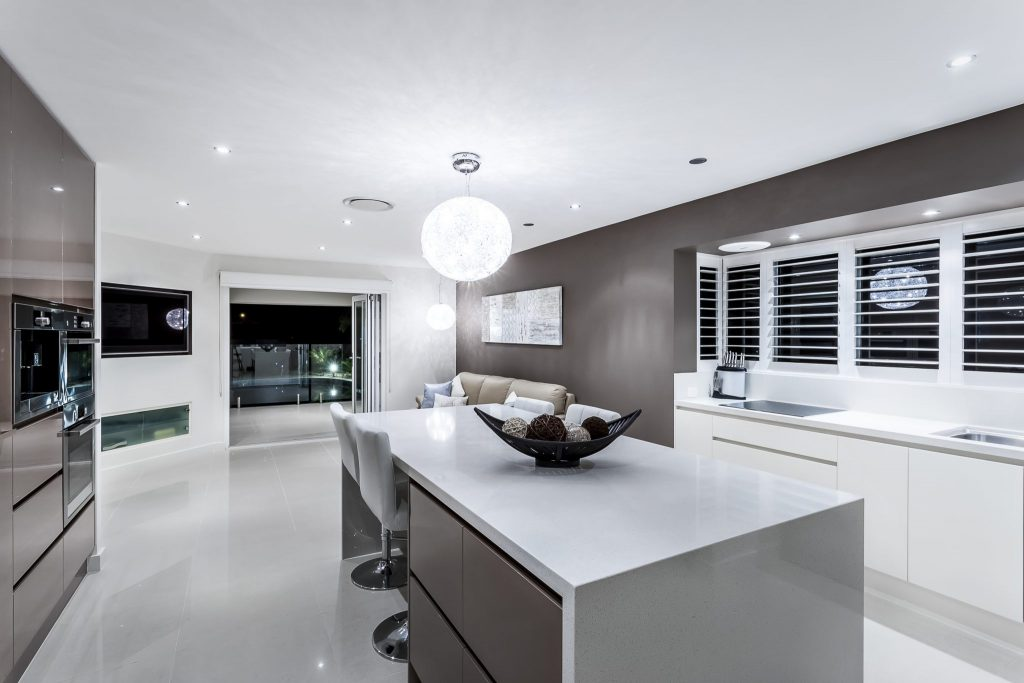 contemporary brown kitchen at night