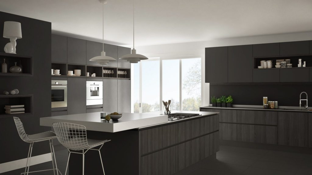 gray and silver kitchen