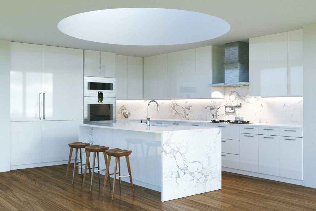 White kitchen round skylight