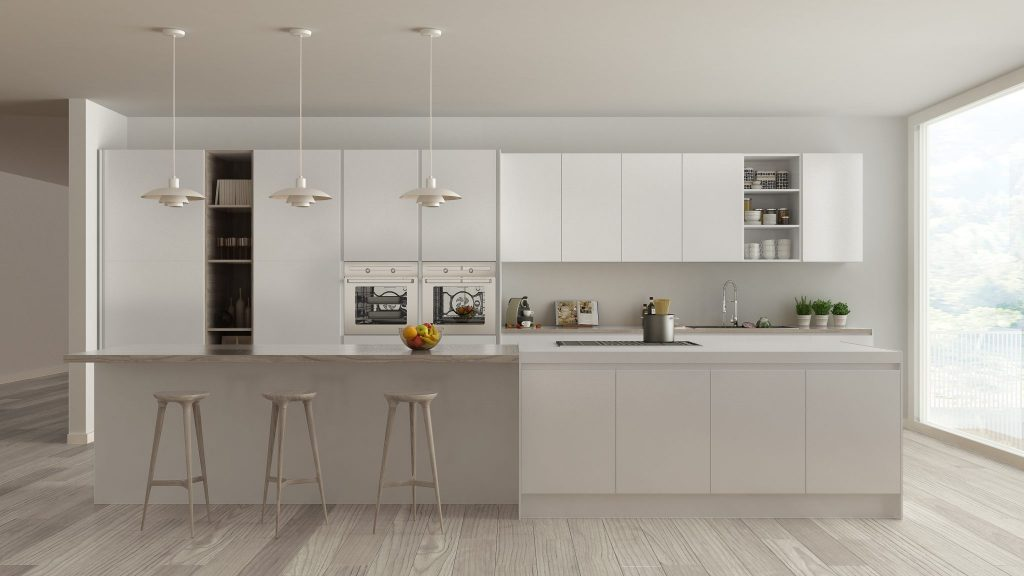white kitchen with stools